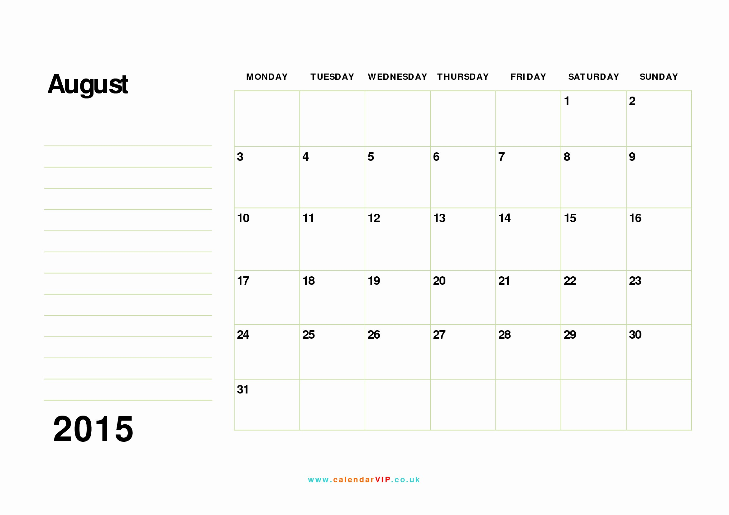 Free Monthly Calendar Templates 2015 Luxury August 2015 Calendar Free Monthly Calendar Templates for Uk