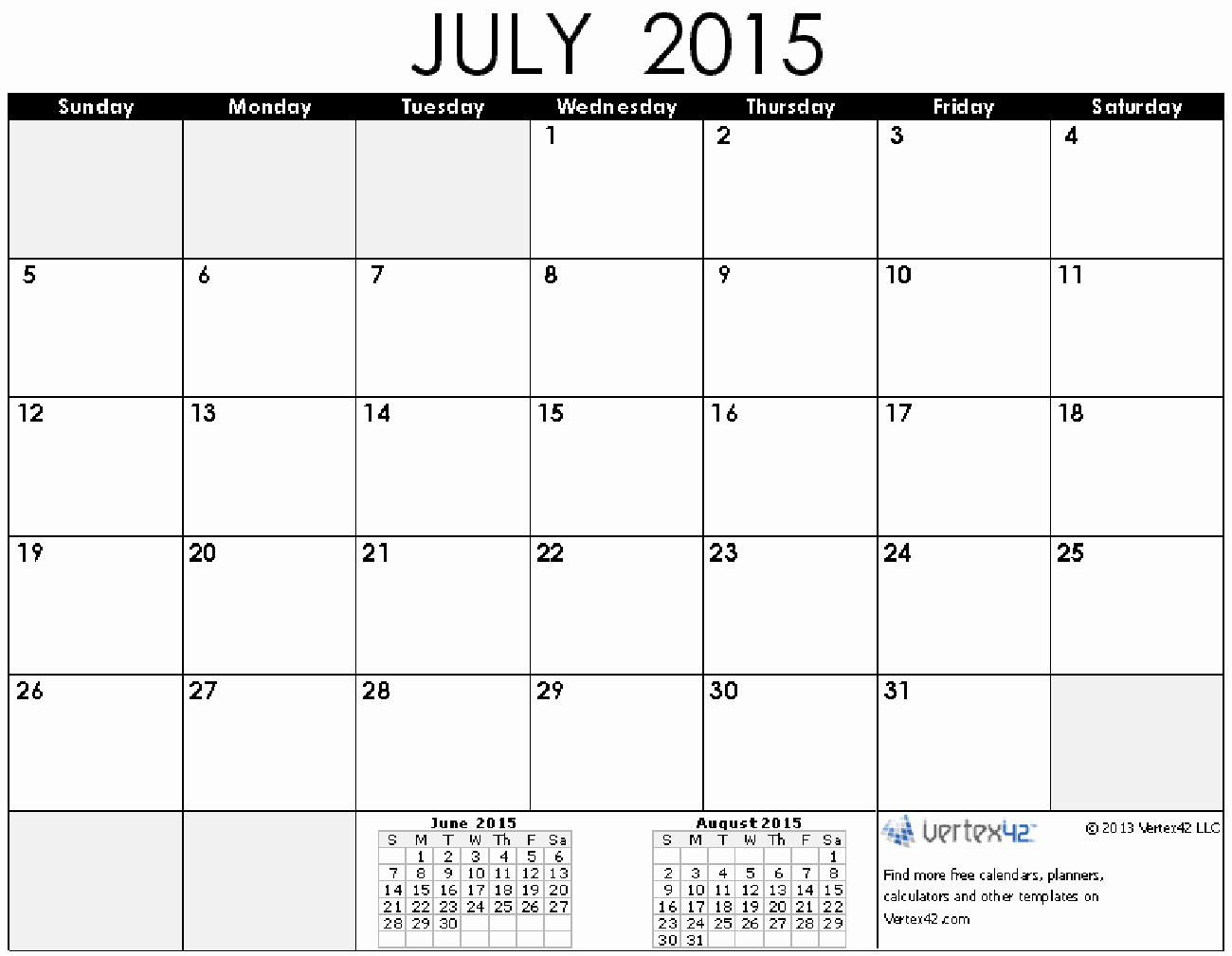 Free Monthly Calendar Templates 2015 Unique 8 Best Of July 2015 Printable Calendar by Month