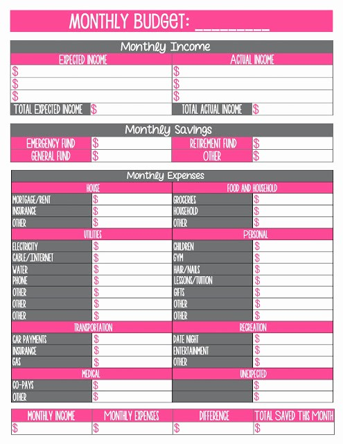 Free Monthly Household Budget Template Fresh Free Printable Monthly Household Bud Sheet Best