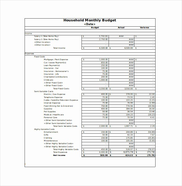 Free Monthly Household Budget Template Lovely 12 Sample Monthly Bud Spreadsheet Templates Word