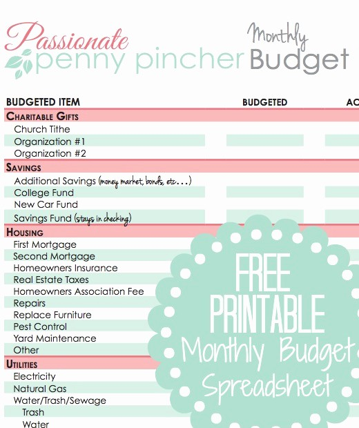 Free Monthly Household Budget Template Unique Free Printable Bud Spreadsheet