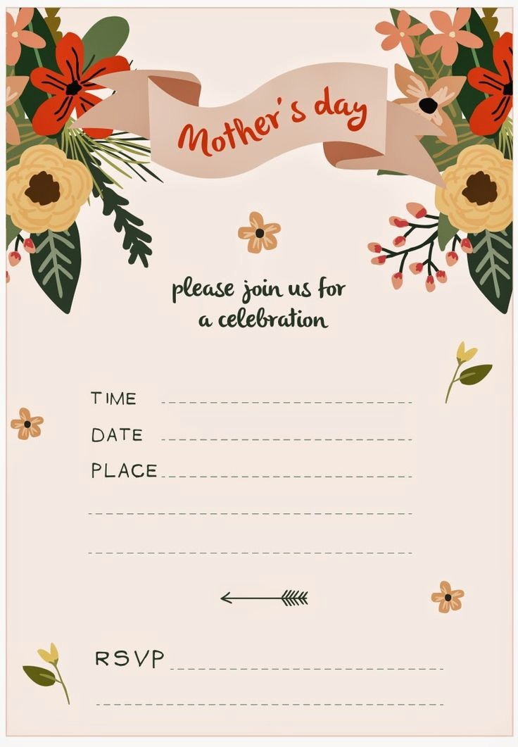 Free Mother's Day Card Templates Beautiful 8 Best Images About Mothers Day Invitations On Pinterest