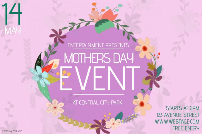Free Mother's Day Card Templates Elegant Landscape Mothers Day event Flyer Template