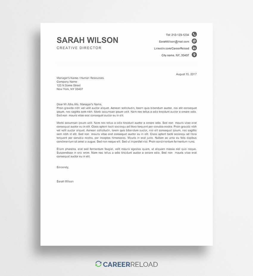Free Ms Word Letter Templates Fresh Free Cover Letter Templates for Microsoft Word Free Download
