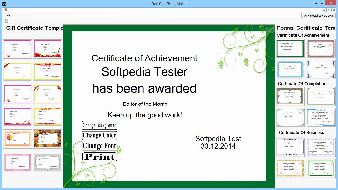 Free Online Certificate Maker software Beautiful Download Free Certificate Maker 1 0 0