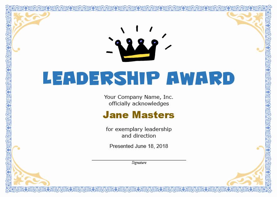 Free Online Certificate Maker software Inspirational Leadership Certificate Template Free Leadership Award