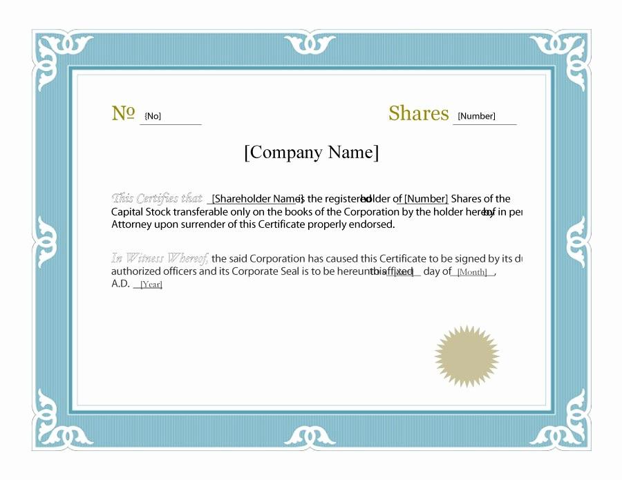 Free Online Certificate Maker software Luxury 41 Free Stock Certificate Templates Word Pdf Free