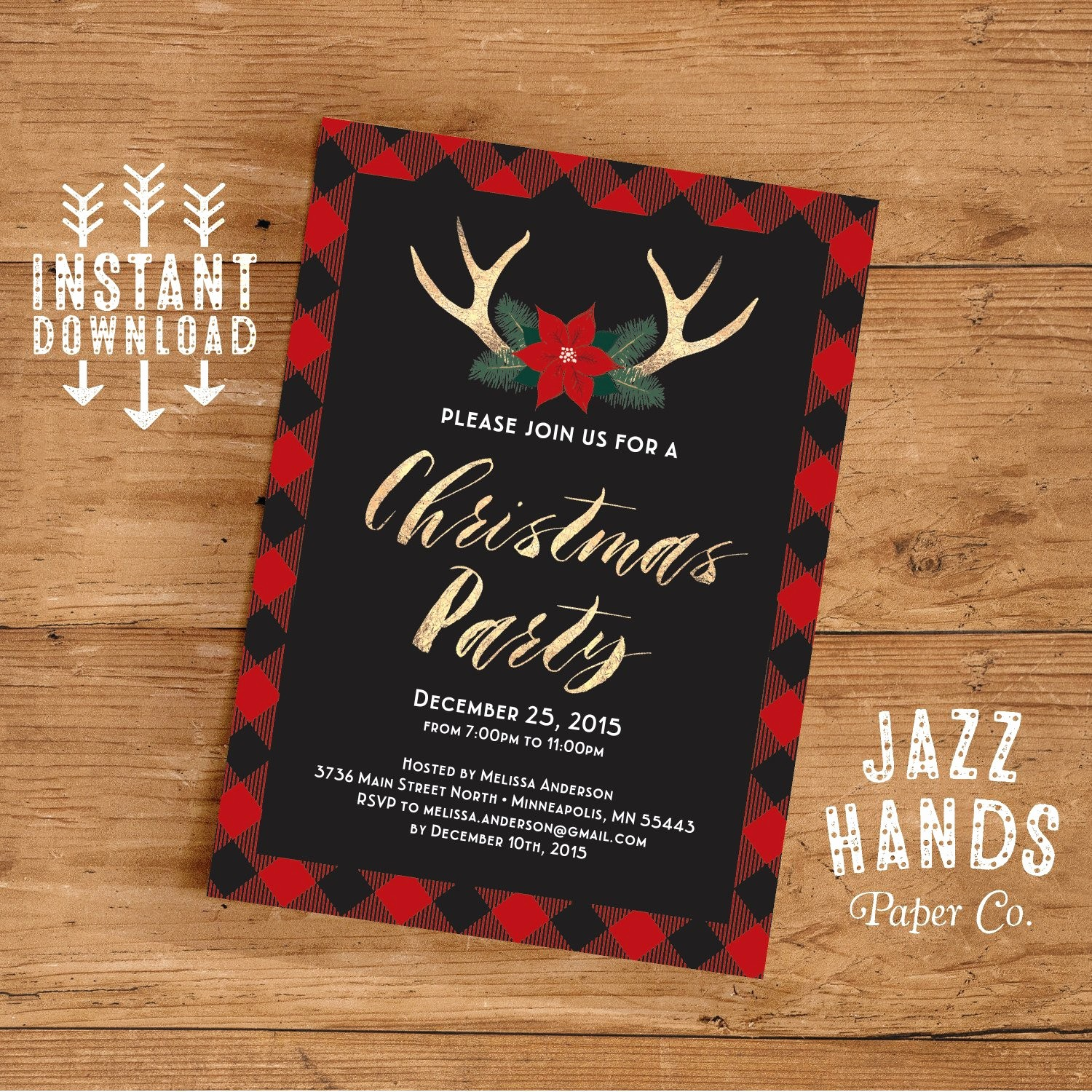 Free Online Christmas Party Invitations Lovely Christmas Party Invitation Template Diy Printable Holiday