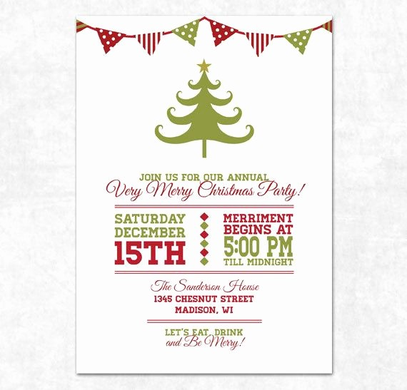 Free Online Christmas Party Invitations Unique Printable Christmas Invitation Holiday Bunting and