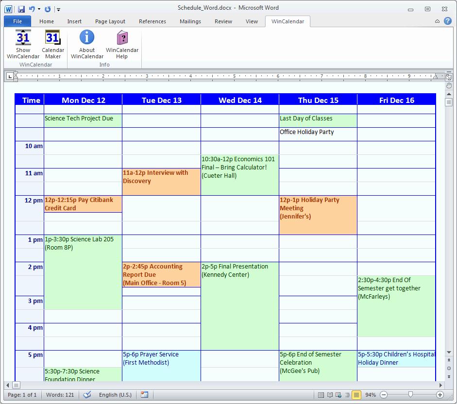 Free Online College Schedule Maker Best Of Calendar Maker & Calendar Creator for Word and Excel