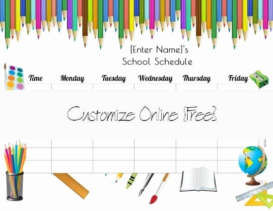 Free Online College Schedule Maker Inspirational Free School Schedule Maker