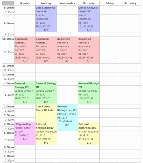 Free Online College Schedule Maker Unique 4 Excel Class Schedule Makers Excel Xlts