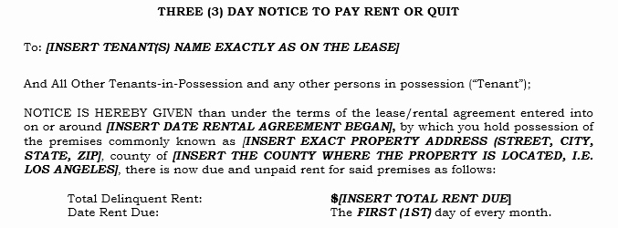 Free Pay or Quit Notice New How Do I Fill Out A 3 Day Notice to Pay Rent or Quit In