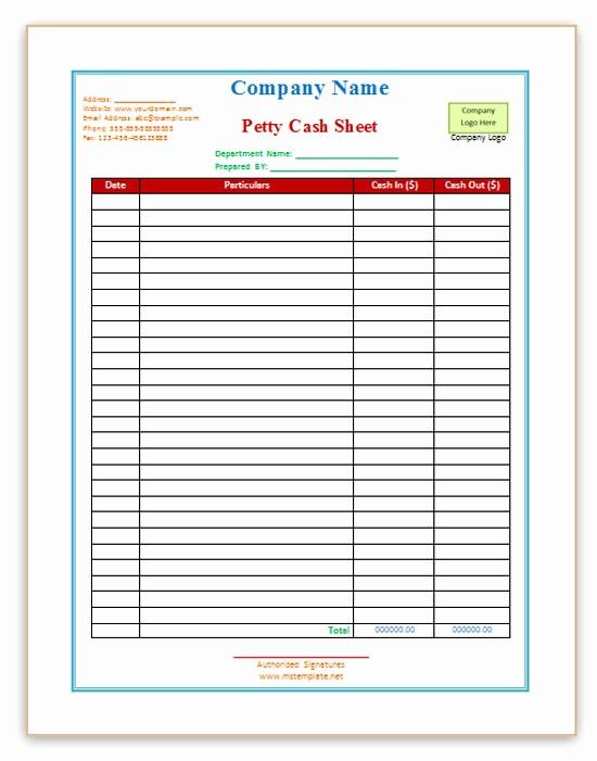 Free Petty Cash Log Sheet Beautiful 9 Petty Cash Templates