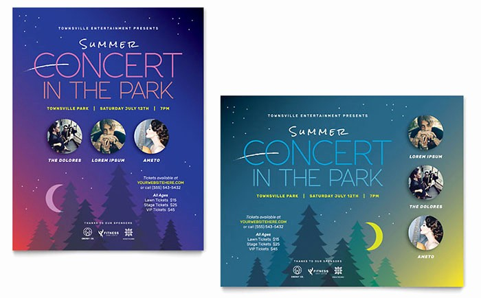 Free Poster Templates for Word Lovely Summer Concert Poster Template Word & Publisher