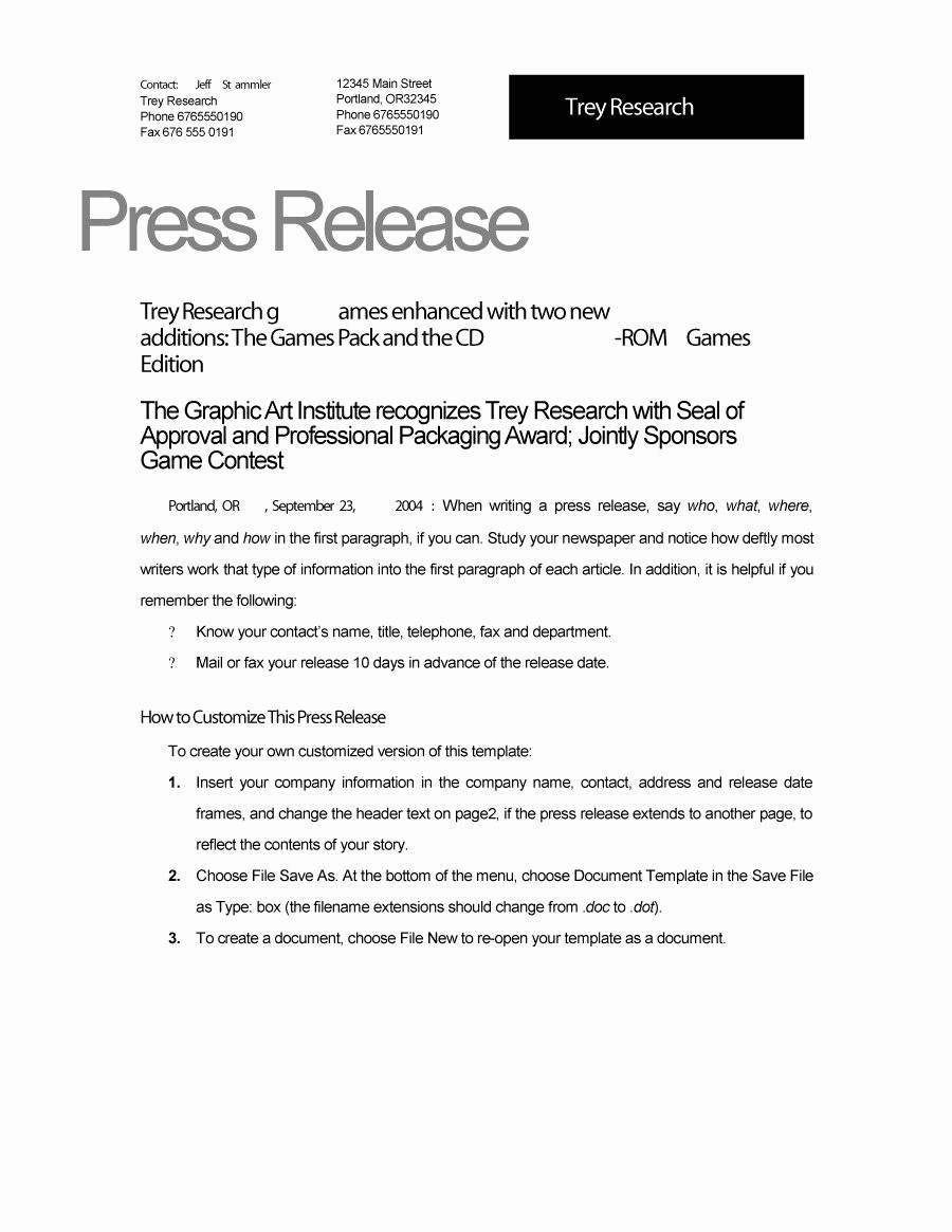 Free Press Release Template Word Best Of 46 Press Release format Templates Examples & Samples