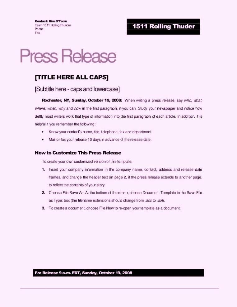 Free Press Release Template Word Elegant Free Sample Press Release Template Word