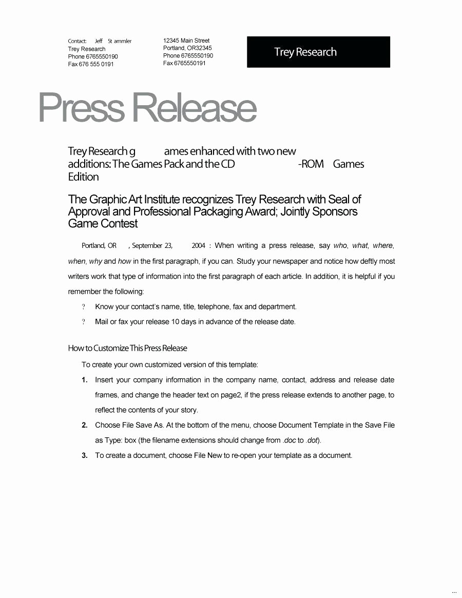 Free Press Release Template Word Fresh event Press Release Template Word