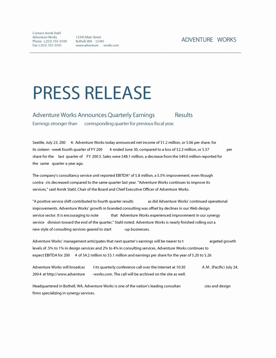 Free Press Release Template Word Fresh Release Press Release Template