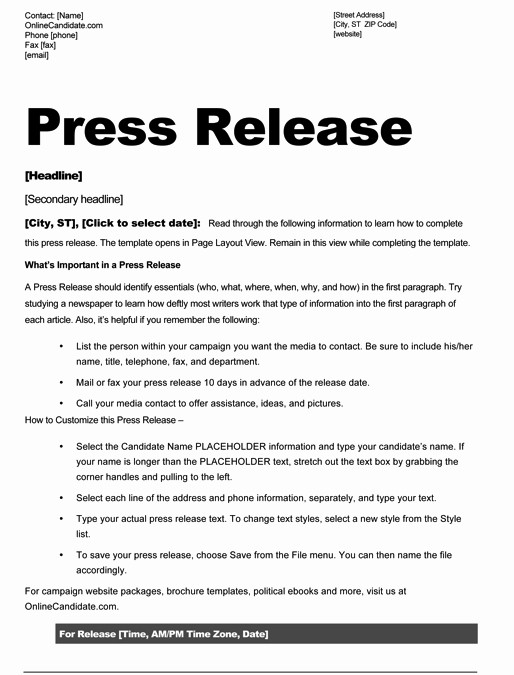 Free Press Release Template Word Inspirational Political Print Templates – Red White and Blue theme