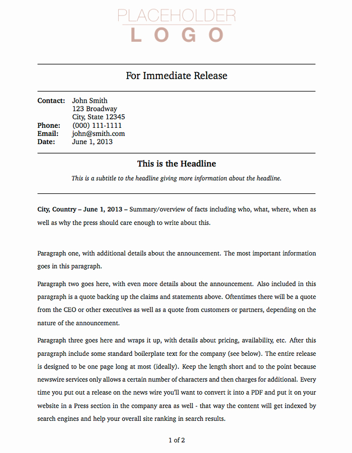 Free Press Release Template Word Inspirational Press Release Template