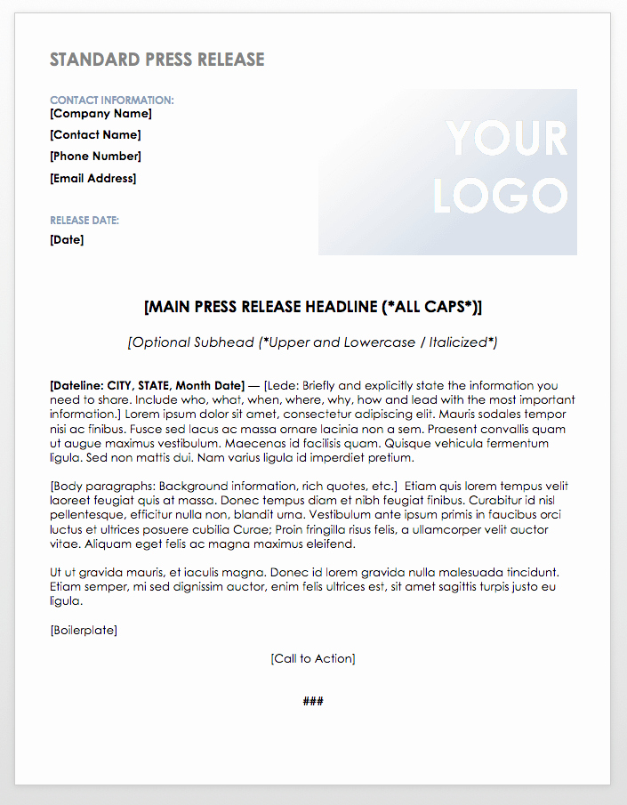 Free Press Release Template Word Lovely Free Press Release Templates