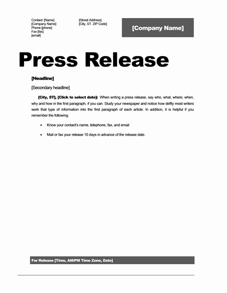 Free Press Release Template Word Lovely Press Release Template 15 Free Samples Ms Word Docs