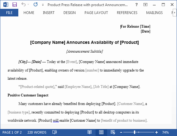 product press release with product announcement template for word