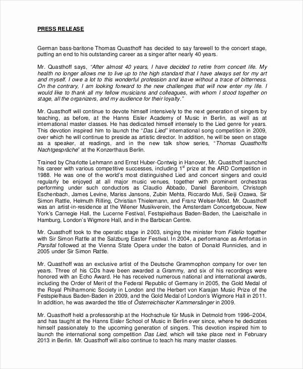 Free Press Release Template Word Luxury Press Release Template 20 Free Word Pdf Document