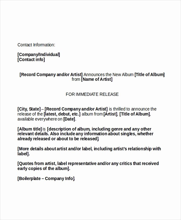 Free Press Release Template Word Luxury Press Release Template 20 Free Word Pdf Document