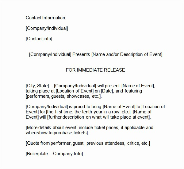 Free Press Release Template Word Luxury Sample Press Release Templates 8 Free Documents