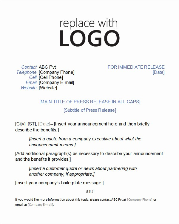 Free Press Release Template Word New 8 Press Release Templates
