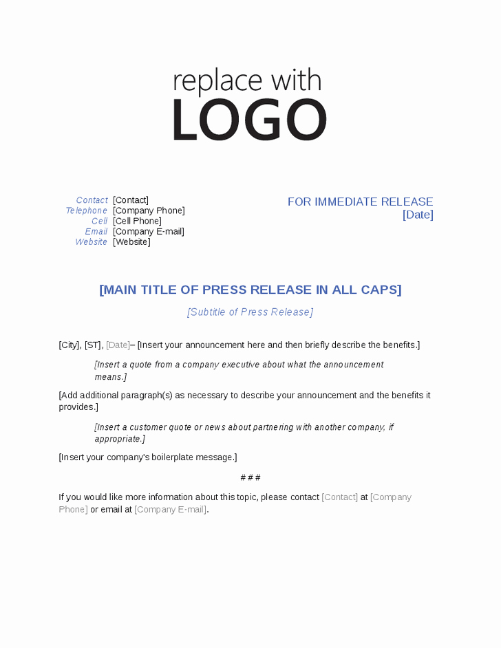 Free Press Release Template Word New Press Release Template