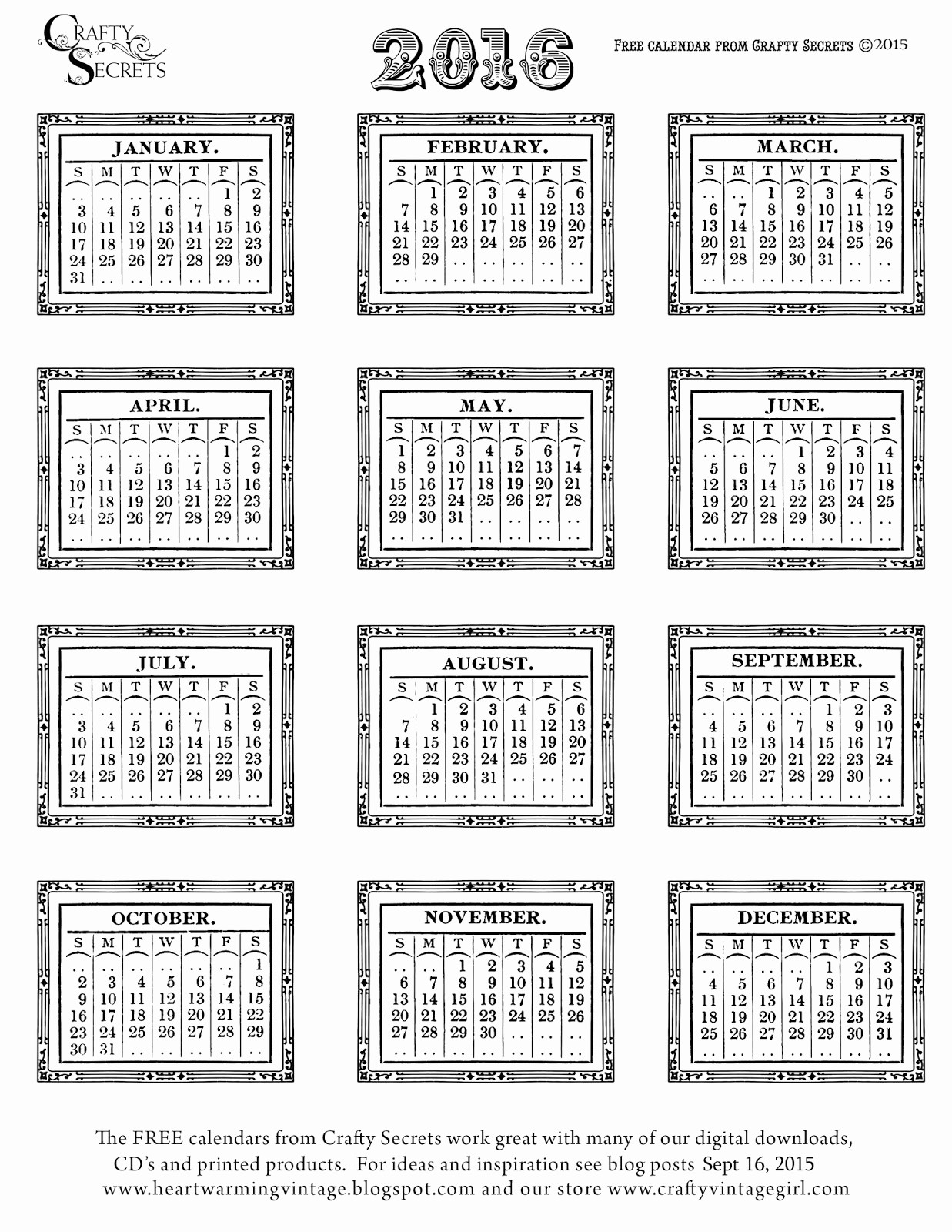 Free Printable 12 Month Calendar Beautiful 2016 Free Printable Calendars Lolly Jane