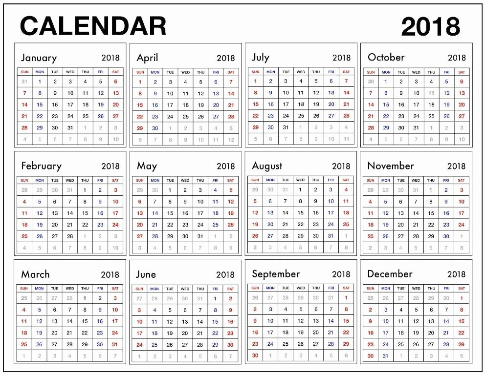 Free Printable 12 Month Calendar Best Of 12 Month Calendar 2018 Pdf 2018 Calendars