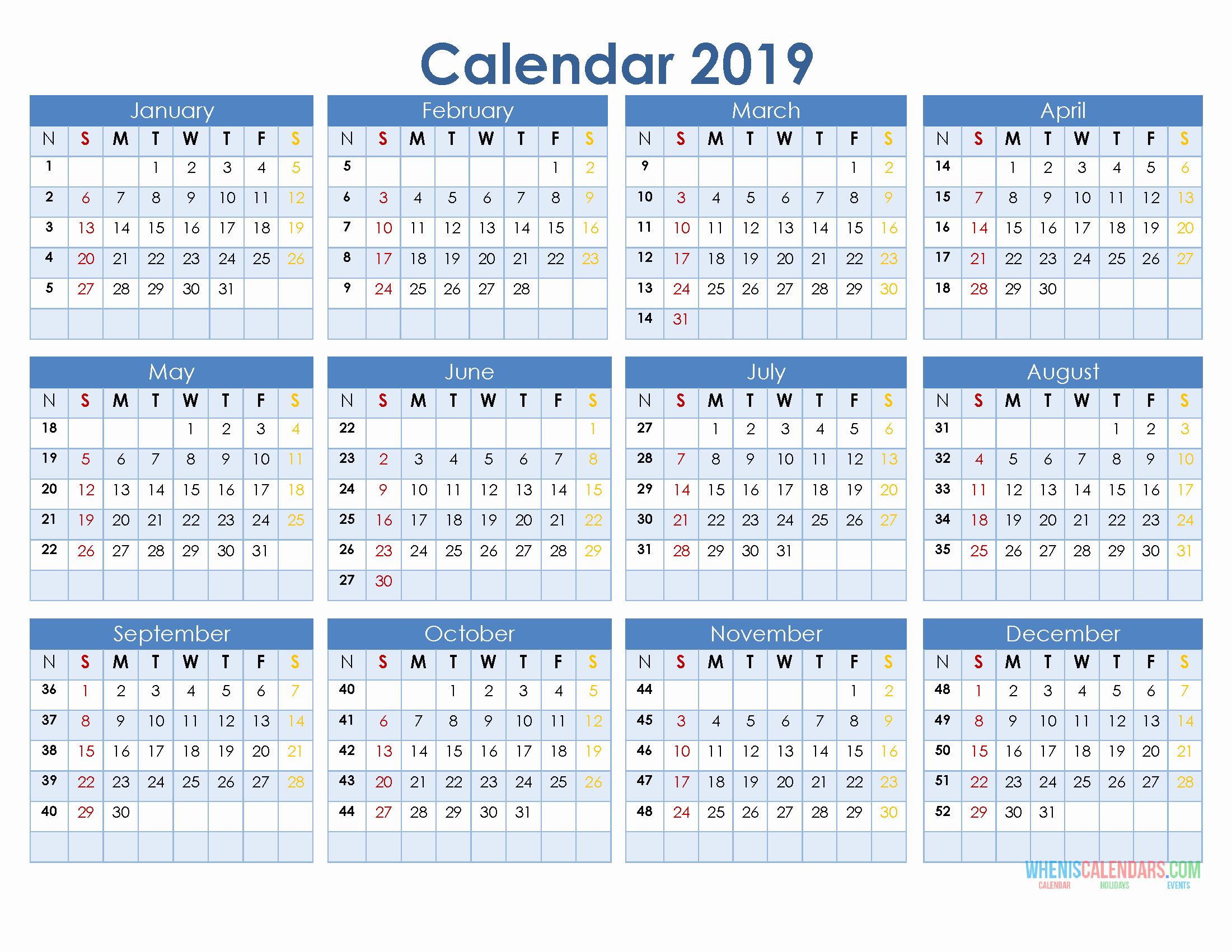 Free Printable 12 Month Calendar Best Of 2019 12 Month Calendar Template In A E Page Printable