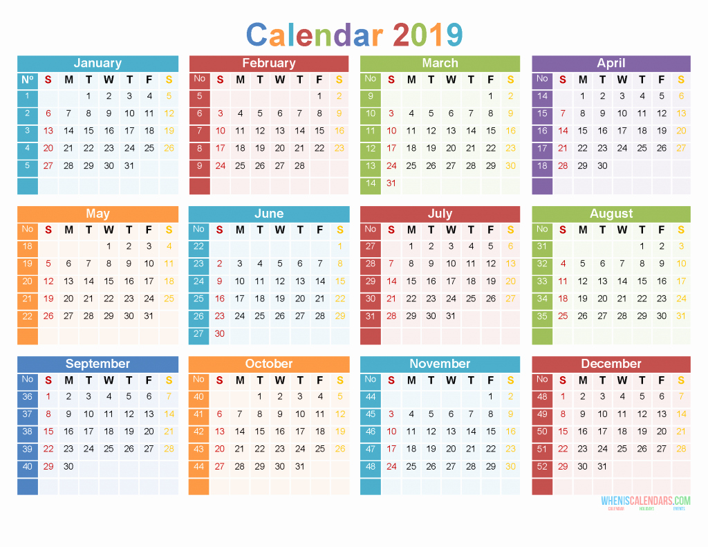 Free Printable 12 Month Calendar Best Of 2019 12 Month Calendar Template Print Calendar Pdf