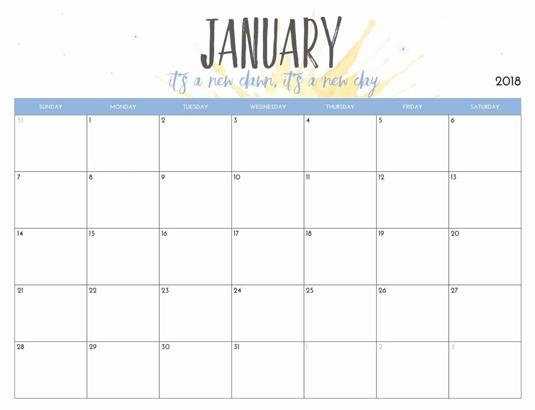 Free Printable 12 Month Calendar Fresh Free Printable 2018 Monthly Calendar