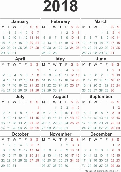 Free Printable 12 Month Calendar Luxury 2018 Monthly Calendars to Print 8 12 X 11