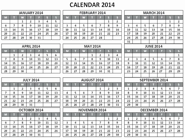 Free Printable 12 Month Calendar Unique 12 Month Calendar 2014 Printable Blank Template Monthly