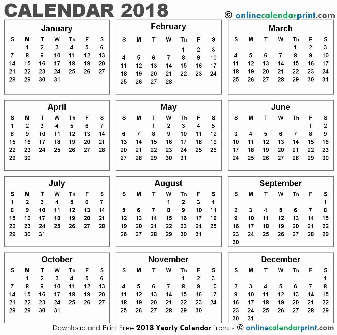 12 month printable calendar 2018 one page