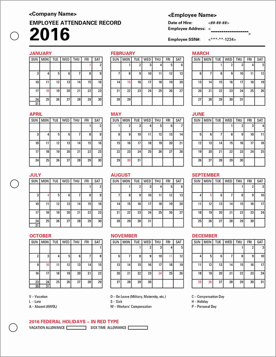 Free Printable 2016 attendance Calendar Awesome Employee attendance Calendar