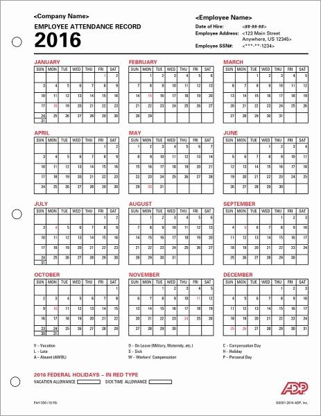 Free Printable 2016 attendance Calendar Beautiful 2016 Adp Payroll Calendar