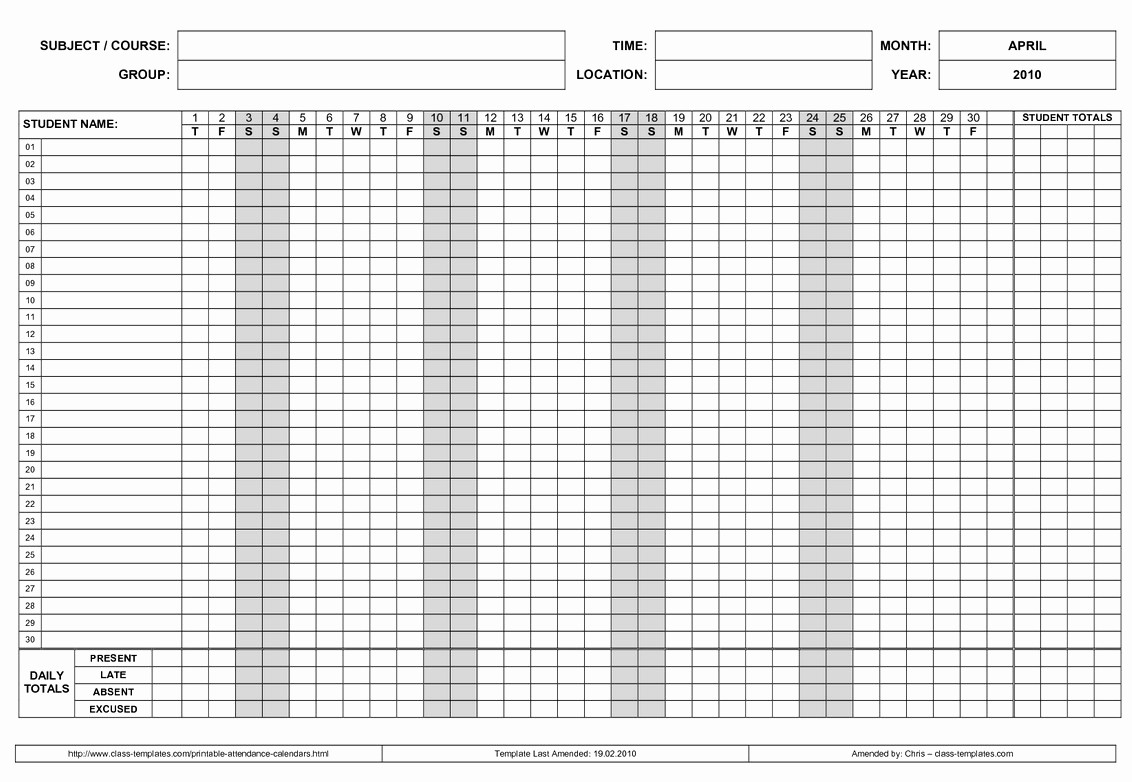 Free Printable 2016 attendance Calendar Beautiful Free Employee attendance Calendar