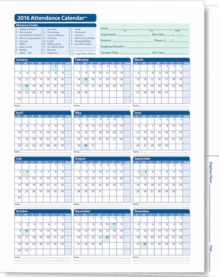 Free Printable 2016 attendance Calendar Elegant Employee attendance Calendar