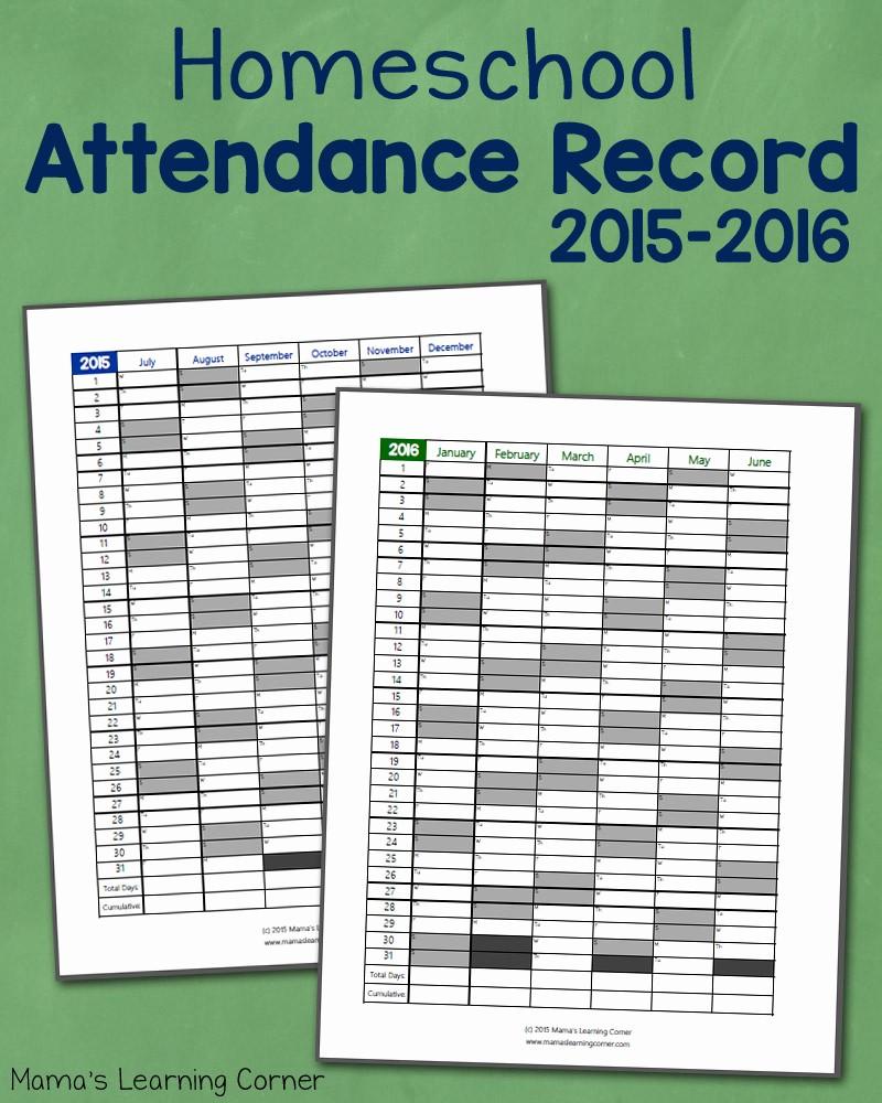 Free Printable 2016 attendance Calendar Fresh Homeschool attendance Record 2015 2016 Free Printable