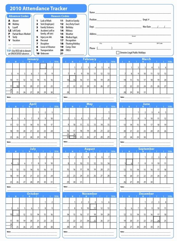 Free Printable 2016 attendance Calendar Inspirational Printable attendance Calendar 2016 Employee attendance
