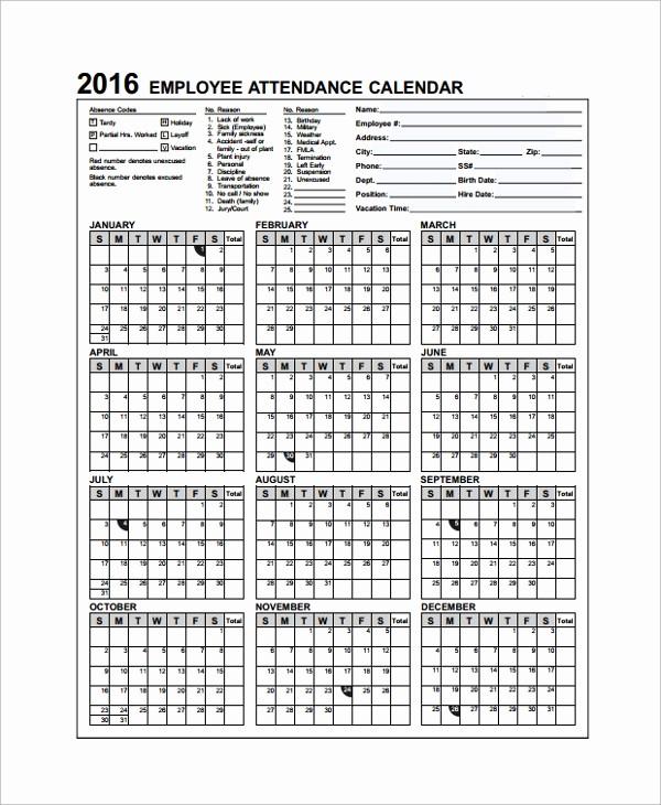 Free Printable 2016 attendance Calendar Lovely 10 attendance Calendar Templates