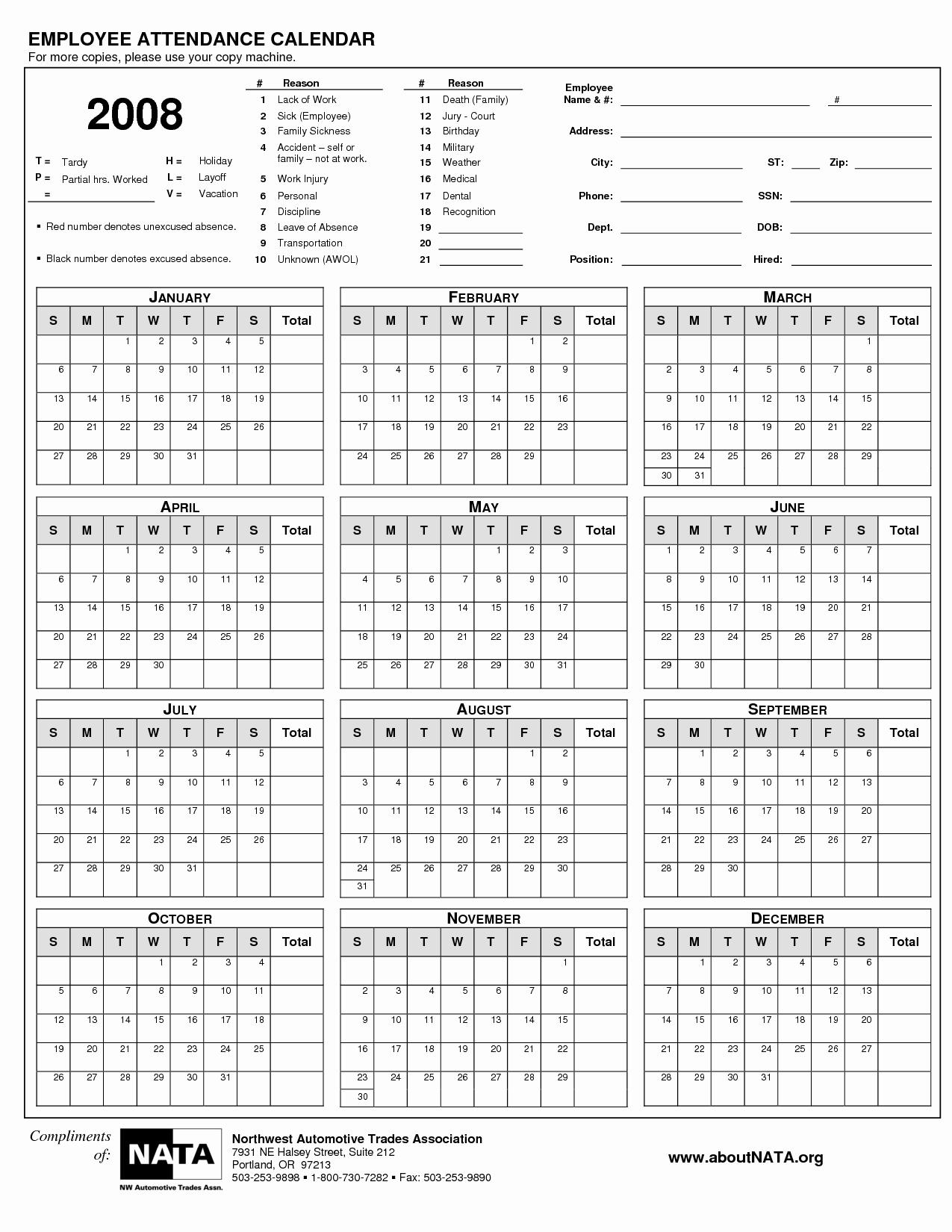 Free Printable 2016 attendance Calendar Lovely 2015 Employee attendance Calendar Free Printable