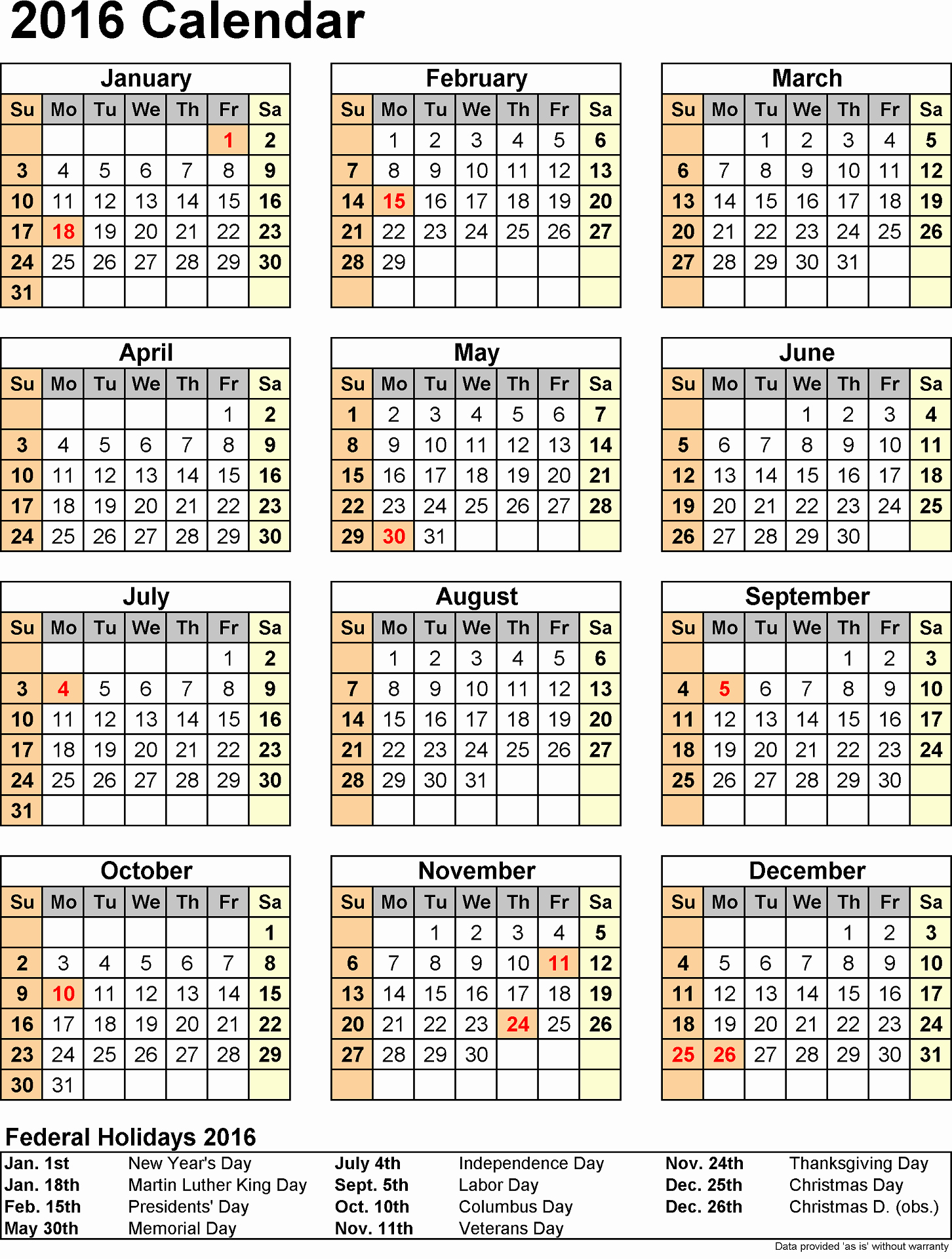 Free Printable 2016 attendance Calendar Lovely 2016 Yearly Calendars with Holidays
